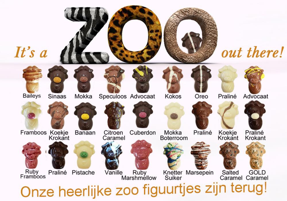 zoo figuurtjes in chocolade