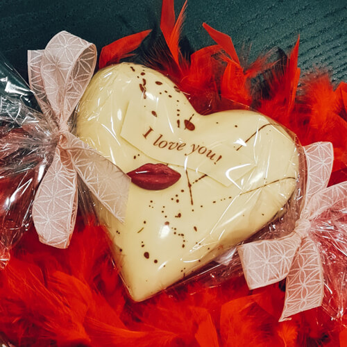chocolade hart opgevuld met pralines
